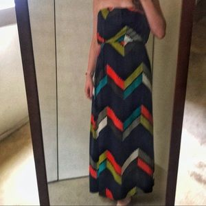 Strapless Patterned Maxi Dress